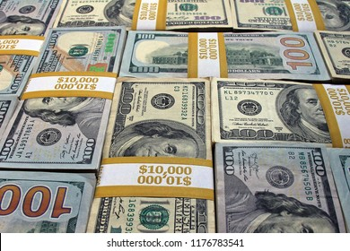 Stacks of dollars as a background. Cash stacks mosaic background. Money stacks background image. Piles of cash as a perfect background.