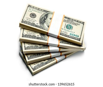 Stacks of dollars isolated on white background