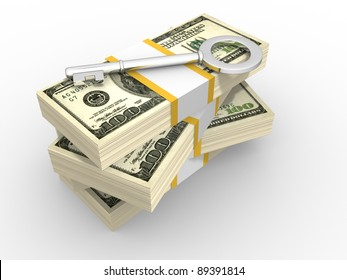Stacks of dollars and key to success. 3d render illustration