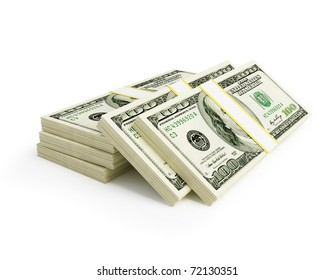 stacks of dollars on a white background
