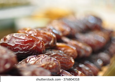 Stacks of dried dates display on a Spice Bazaar in Instanbul.