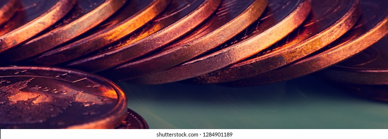 Stacks of euro and euro cent coins. The currency of the European Union. Web banner.