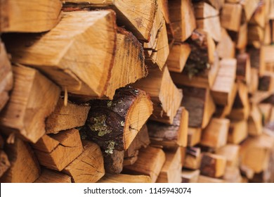 Stacks of Firewood. Preparation of firewood for the winter.