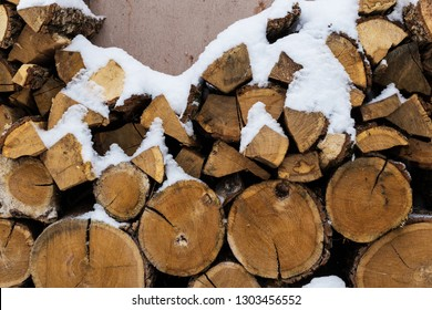 Stacks of Firewood. Preparation of firewood for the winter. Pile of Firewood. Preparation of firewood for the winter.