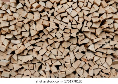 Stacks of Firewood. Preparation of firewood for the winter. Pile of Firewood.Firewood background.