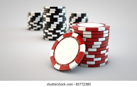 Stacks of gambling chips on white background