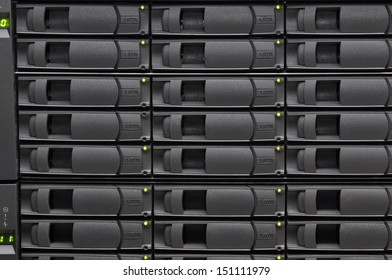 Stacks of hard disk drives for network storage.