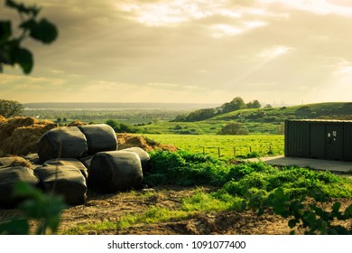 stacks of hay drying near a farm field in Essex, UK
