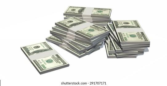 Stacks of hundred dollars Bills isolated on white
