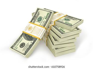 Stacks of Hundred US Dollars. 3d illustration