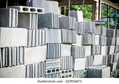 Stacks of interlocking stones for installing driveway landscaping