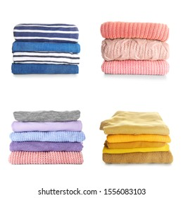 Stacks of modern different clothes on white background