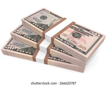 Stacks of money. Fifty dollars. 3D illustration.