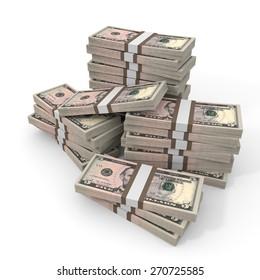 Stacks of money.  Five dollars. 3D illustration.