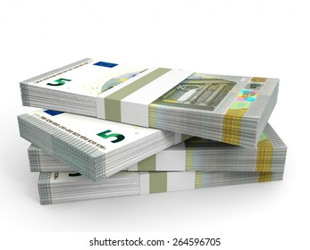 Stacks of money. Five euros. 3D illustration.