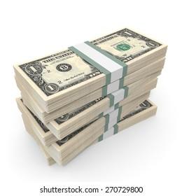 Stacks of money. One dollar. 3D illustration.