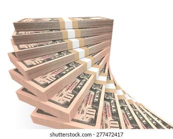 Stacks of money. Ten dollars. 3D illustration.