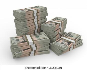 Stacks of money. Twenty dollars. 3D illustration.
