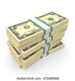 Stacks of money.  Two dollars. 3D illustration.