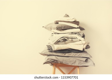 stacks monochrome gradient white gray black bed, linen textiles clothing background pile concept country style retro toning beige