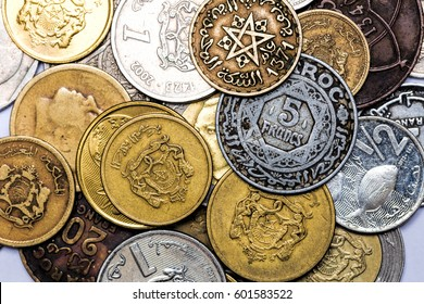 Stacks of Morocco coins on a white background