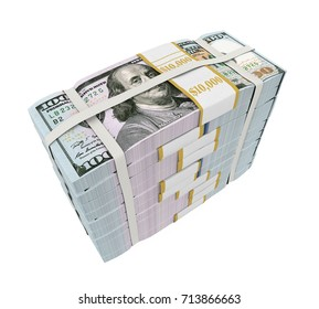 Stacks of New 100 US Dollar Banknotes. 3D rendering
