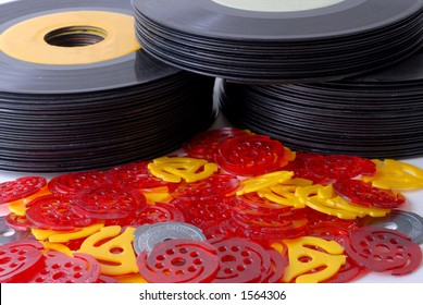 Stacks of Old 45rpm Records