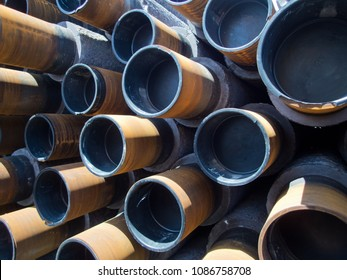 Stacks on pipelines ready to be welded and installed subsea for an oil and gas construction project.