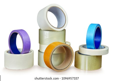 Stacks of packing scotch and paper masking tape, isolated on white background, with saved path.