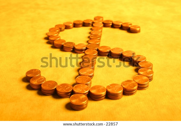 Stacks of pennies formed to resemble a US dollar sign.