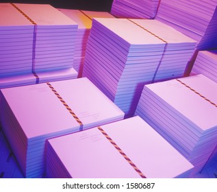 Stacks of printed paper