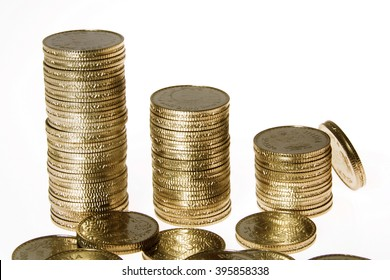 Stacks of rupee coins against white background