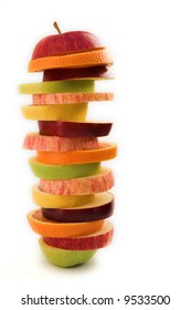 Stacks of sliced fruit (orange, apple & lemon) healthy eating concept - isolated on  white
