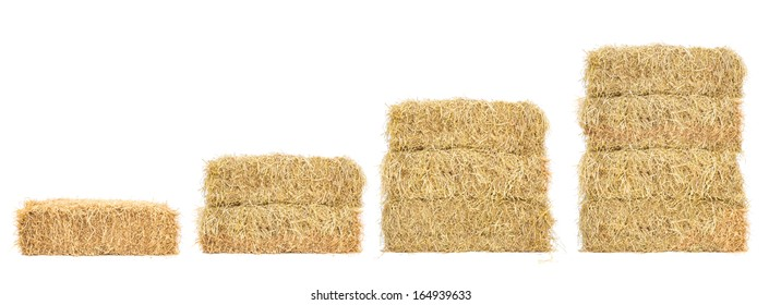 stacks of straw step by step, isolated on white