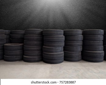 Stacks of tires in warehouse, Tires for sale at a tire store