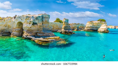 Stacks of Torre Sant Andrea, Salento coast, Puglia region, Italy