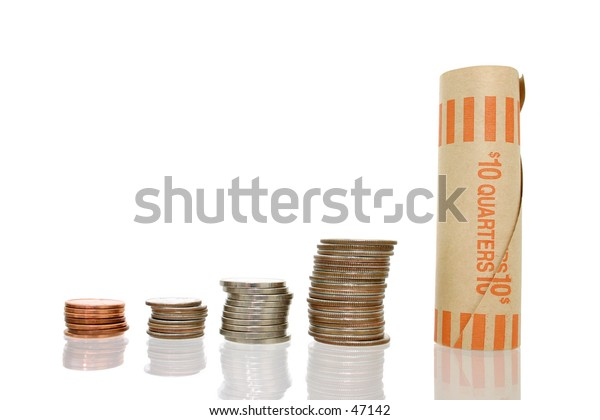 Stacks of US coins.