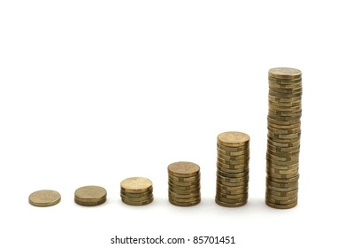 Stacks of used, dirty Australian 2 dollar coins showing exponential growth, isolated over white.  Concept of profit, financial growth
