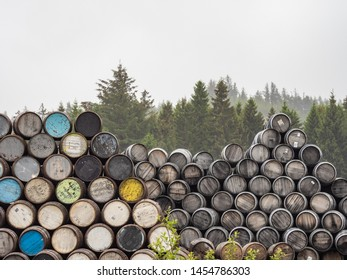 Stacks of whisky barrels and pine trees
