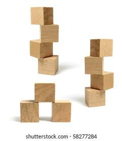 Stacks of Wooden Blocks on White Background