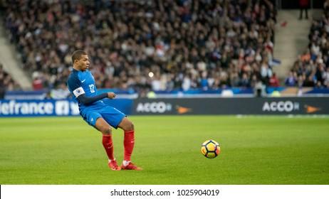 Stade De France, Paris, France - November 11, 2017: Kylian Mbappe at the Stade De France, Paris