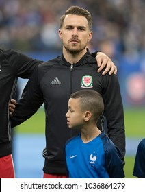 Stade De France, Paris, France - November 10, 2017: Arsenal football Aaron Ramsey lines up for Wales and the national anthem in Paris