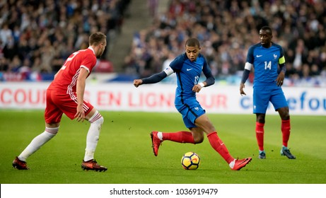 Stade De France, Paris, France - November 10, 2017: Kylian Mbappe pushes forward for France v Wales in Paris