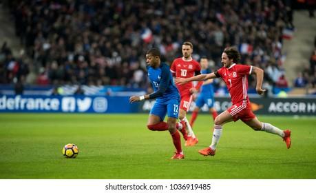 Stade De France, Paris, France - November 10, 2017: Kylian Mbappe pushes forward for France v Wales in Paris