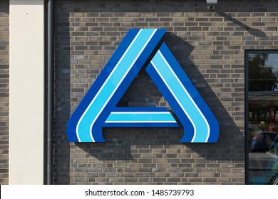 Stade, Germany - August 22, 2019: Logo of ALDI Nord discount store at storefront.
