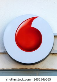 Stade, Germany - August 22, 2019: Logo at wall identifying a Vodafone store