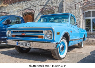 Stade, Germany - July 8, 2018: A vintage 1967 Chevrolet C/K 10 pickup truck at 5th Summertime Drive US car meeting.