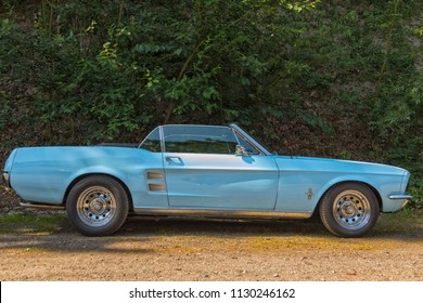 Stade, Germany - July 8, 2018: A vintage 1967 Ford Mustang, Convertibe at 5th Summertime Drive US car meeting.