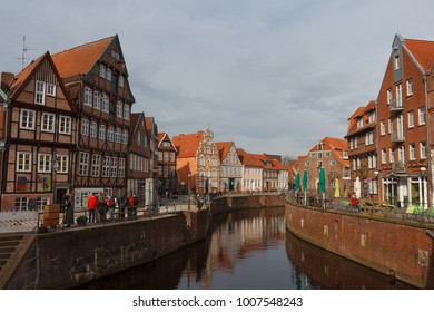 STADE / GERMANY - MARCH 2015: Medieval harbour the old town of Stade, Germany