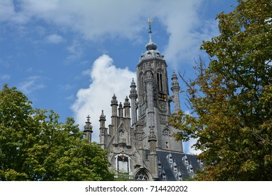 Stadhuis  Middelburg  - old city hall in the Netherlands with trees